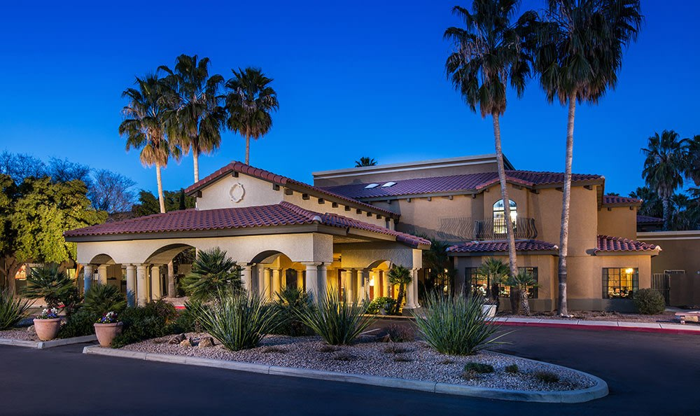 Welcoming front entrance at the senior living community in Tucson