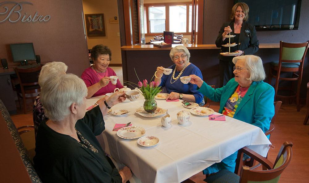 Residents enjoying tea together at The Firs in Olympia, WA