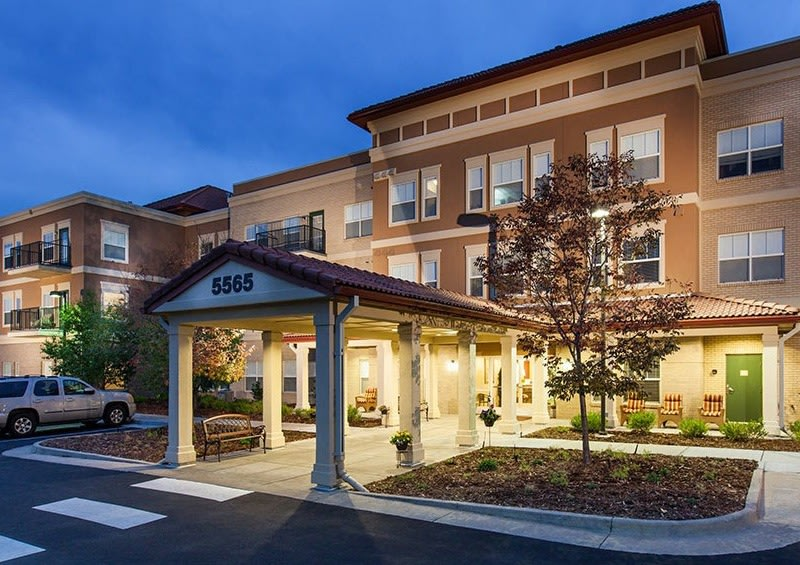 Clean exterior building at the senior living facility in Greenwood Village