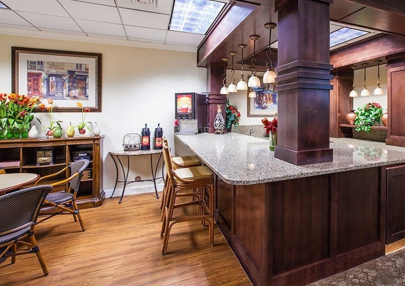 Coffee and beverage bar at the senior living community in Greenwood Village