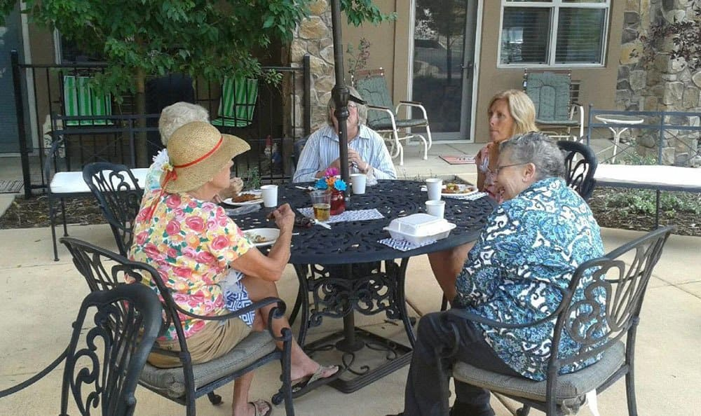 Colorado Springs senior living community enjoys the weather outdoors