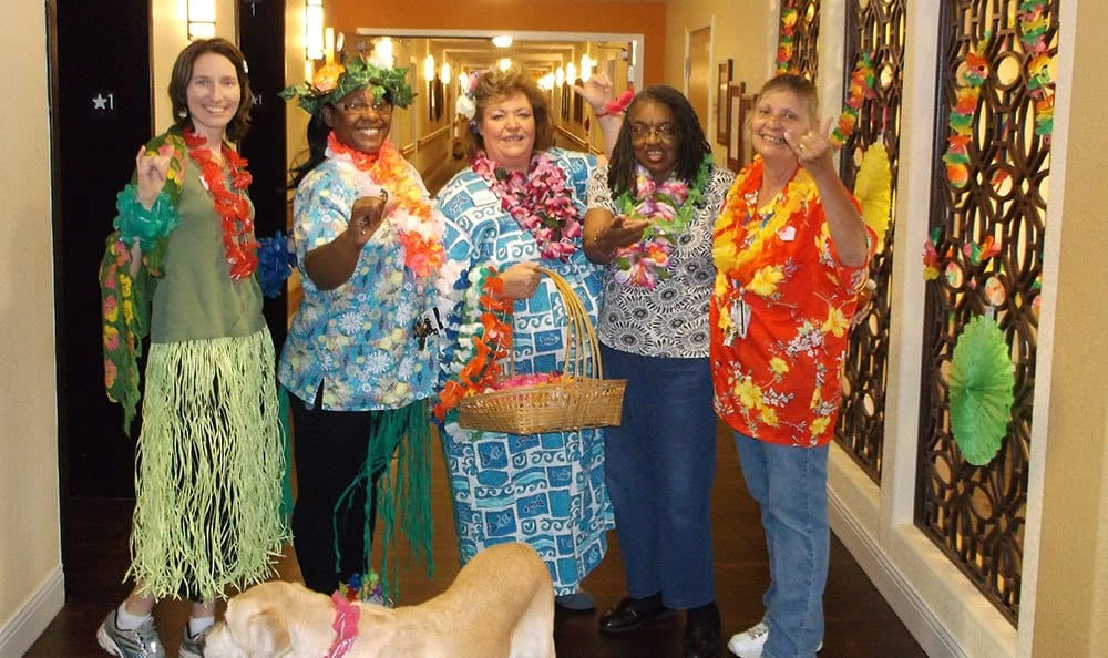 Colorado Springs senior living community enjoying a luau