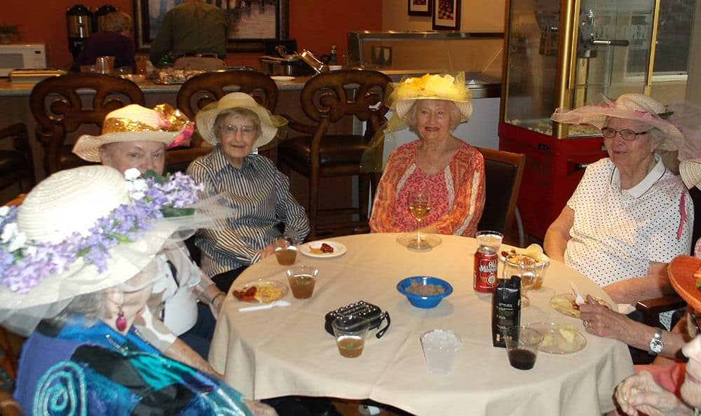 Residents enjoying the Kentucky Derby at the senior living community in Colorado Springs