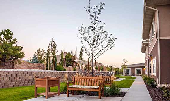 Relax at the Patio Area at the Senior Living community in Highland