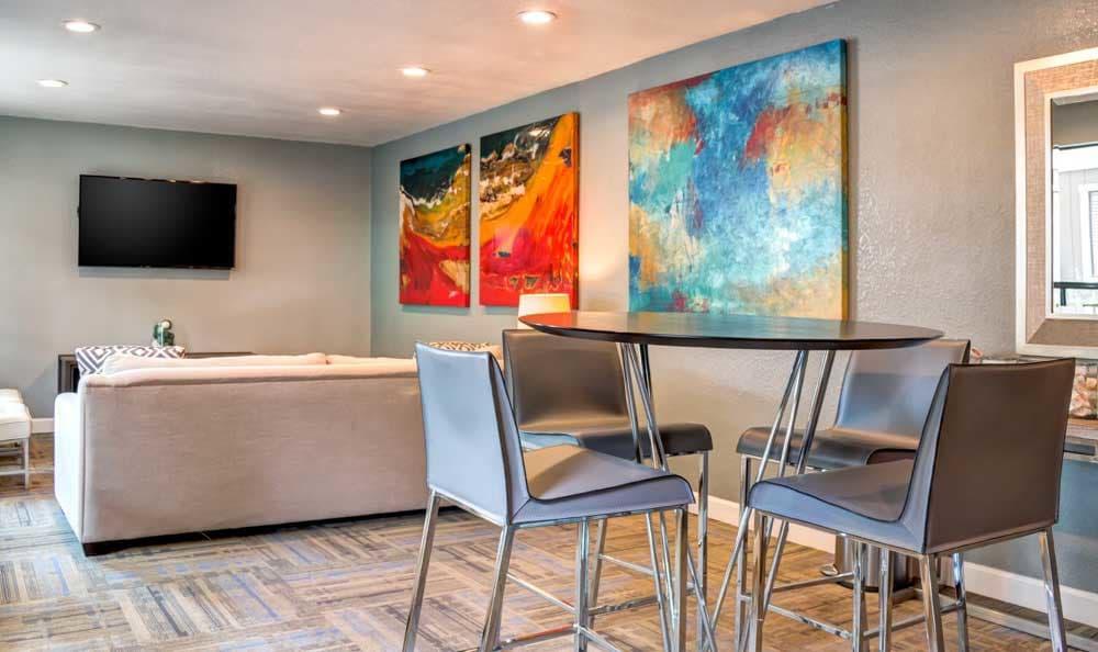 State-of-the-art living room at Sofi Berryessa in San Jose, CA
