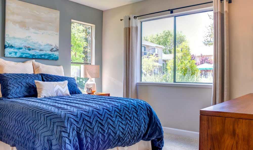 Beautiful bedroom at Sofi Berryessa in San Jose, CA