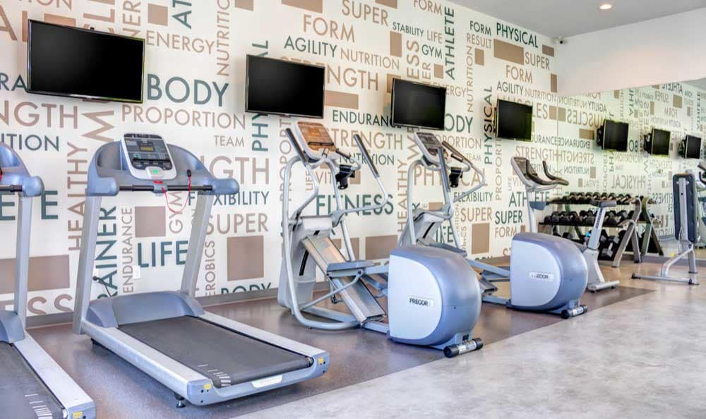 Fitness center at apartments in San Jose, CA