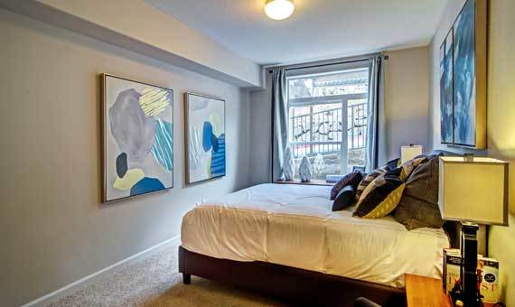 Beautiful bedroom at apartments in Portland, OR