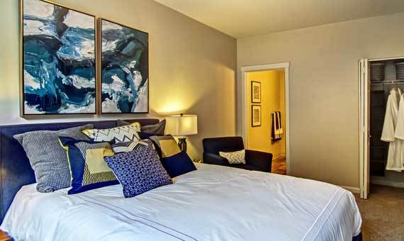 Beautiful bedroom at Sofi at Forest Heights in Portland, OR