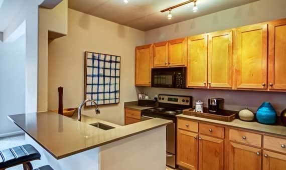 Kitchen at apartments in Portland, OR