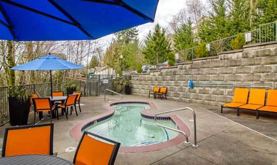 Swimming pool at apartments in Portland, OR
