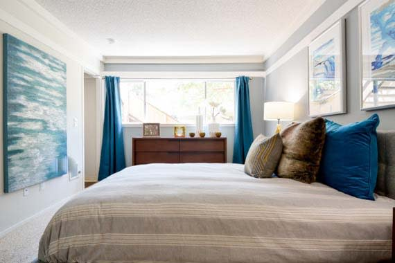 Luxury bedroom at apartments in Fremont, CA