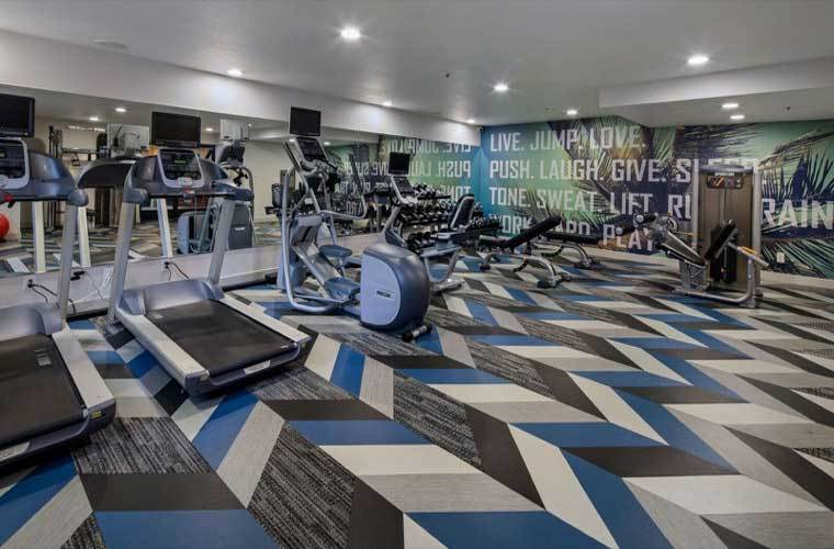 Fitness center At Vue Hollywood In Los Angeles CA