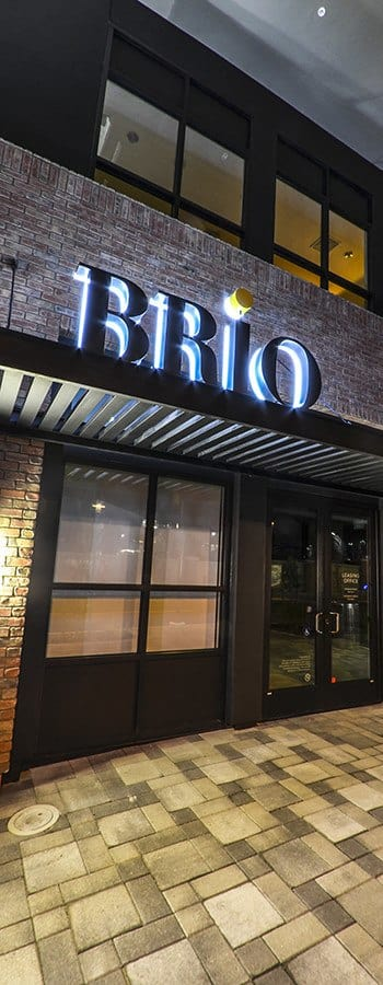 Evening photo of the front of our building here at Brio