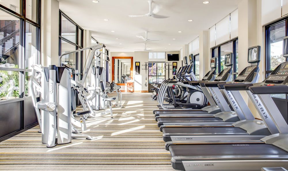 Modern fitness center at apartments in Walnut Creek, CA