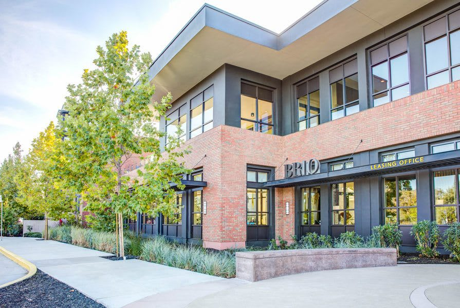 Evening view of the front of our building at Brio.