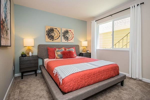 Master bedroom at apartments in Beaverton, OR