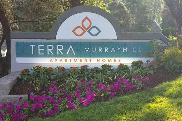 The monument sign at Terra Murrayhill in Beaverton
