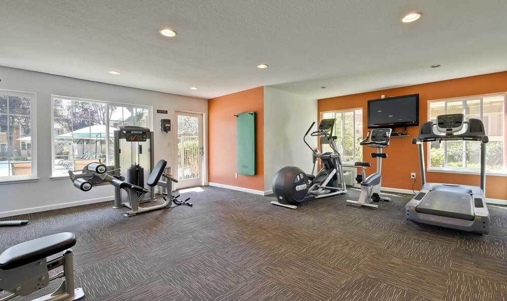Beautiful fitness center at Sofi at Los Gatos Creek in San Jose, CA