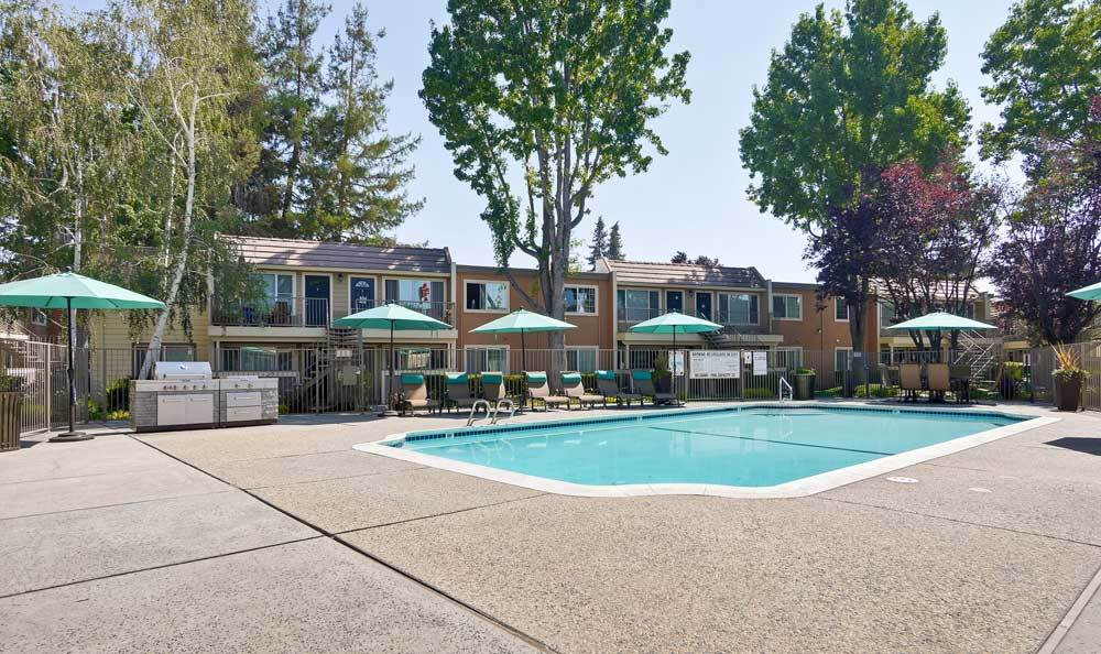 Spacious swimming pool at apartments in San Jose, CA