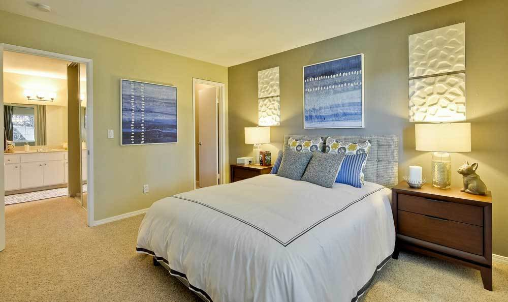 Beautiful bedroom at Sofi at Los Gatos Creek in San Jose, CA