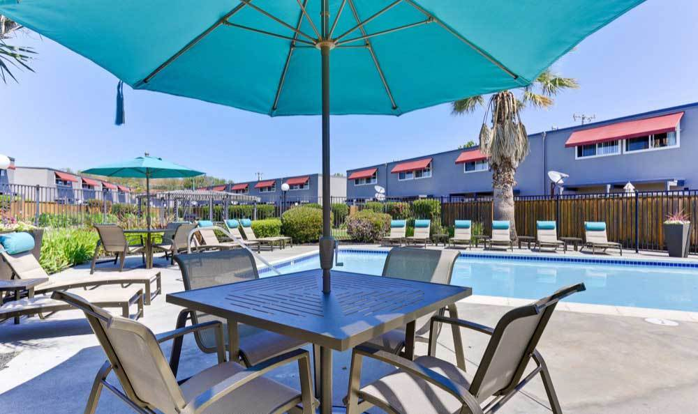 Spacious swimming pool at Mosaic San Mateo in San Mateo, CA