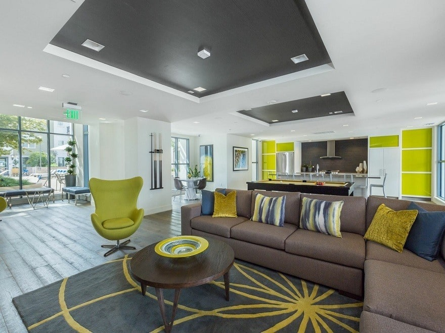 Open and bright living area at Domus on the Boulevard in Mountain View CA