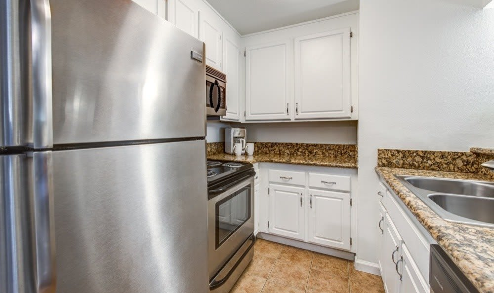 Stainless-steel appliances at apartments in Woodland Hills, CA