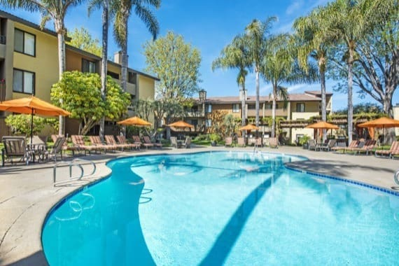 Spacious swimming pool at apartments in Woodland Hills, CA