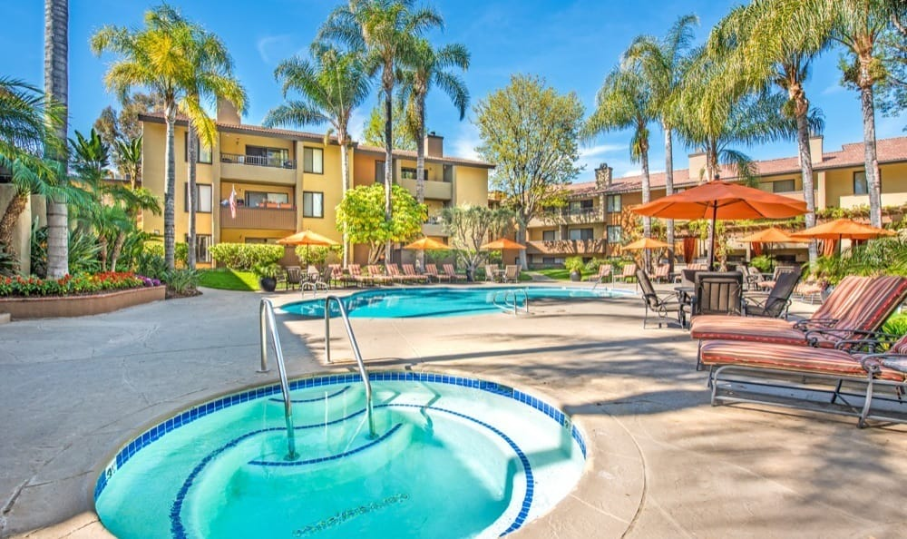 A swimming pool that is great for entertaining at Alura in Woodland Hills, CA