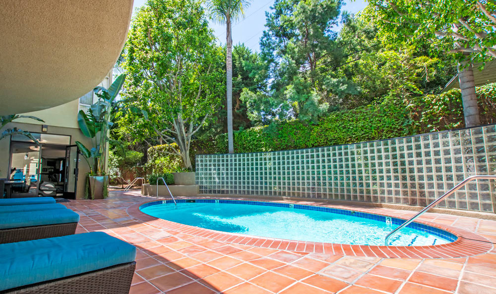 A swimming pool that is great for entertaining at apartments in Los Angeles, CA