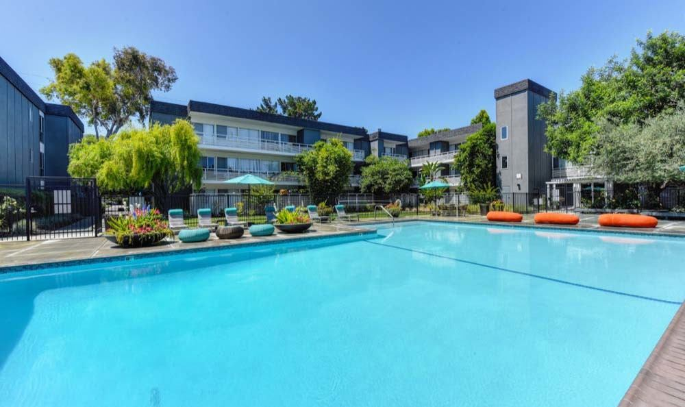 Beautiful swimming pool at apartments in Sunnyvale, CA