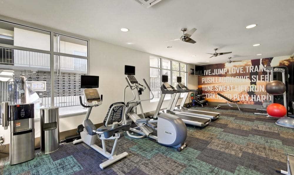 Modern fitness center at apartments in Palo Alto, CA