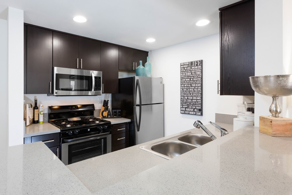 Kitchen at Sofi at 3rd in Long Beach  CA. Sofi at 3rd   Downtown Long Beach  CA Apartments for Rent
