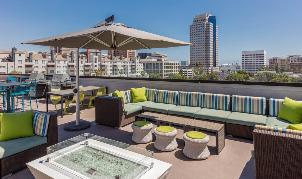Modern bbq area at apartments in Long Beach, CA
