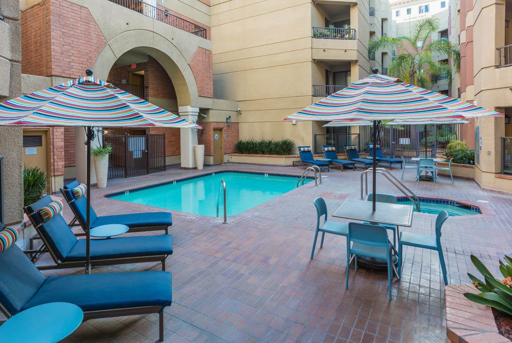 Exterior View Of Long Beach Apartments; Beautiful Hot Tub At Sofi At 3rd In Long  Beach, CA ...
