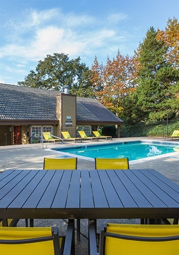 Safe pool area at the apartments for rent in Lake Oswego