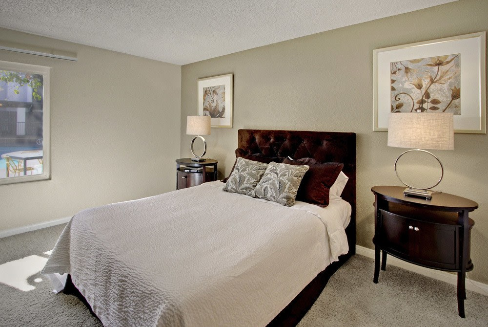 Bedroom at apartments in Woodland Hills