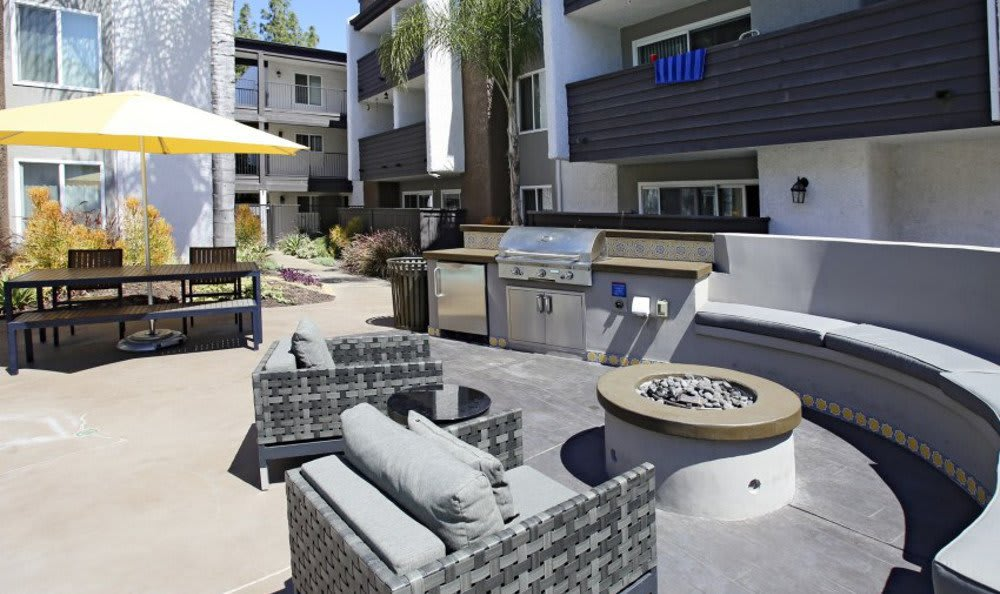Patio at apartments in Woodland Hills, California