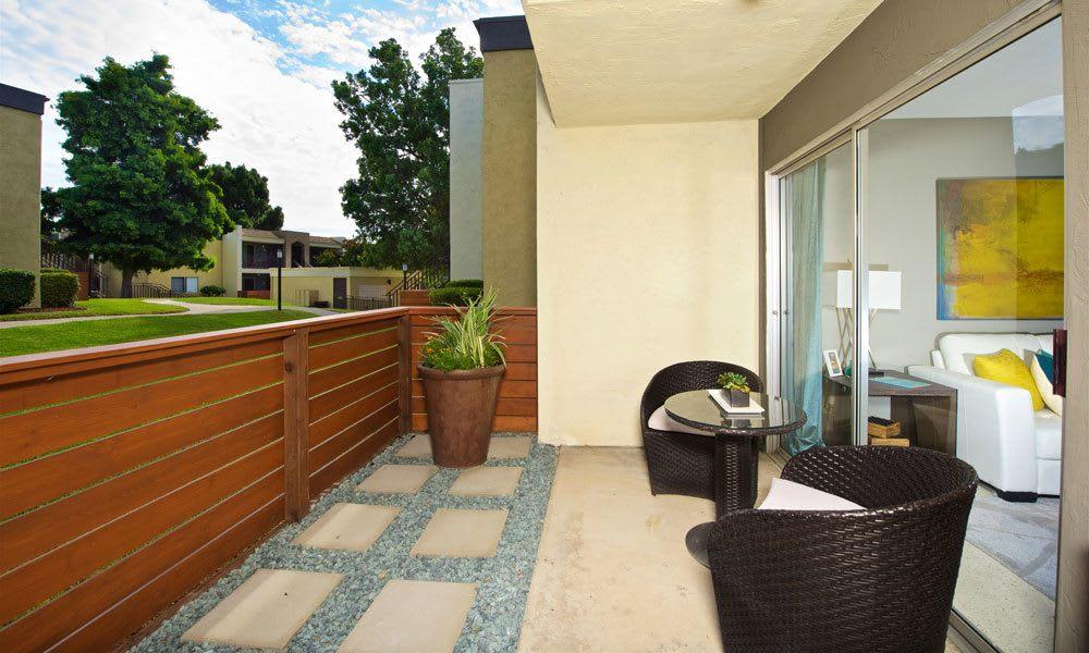 Private patio at apartments in La Mesa, CA