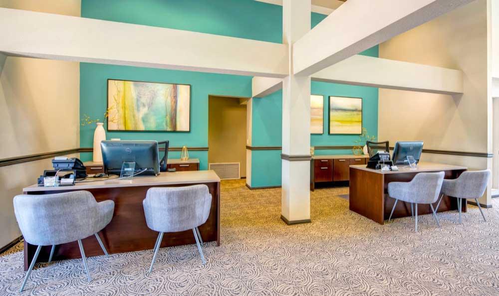 Interior of the leasing office at Sofi Laguna Hills in Laguna Hills, CA