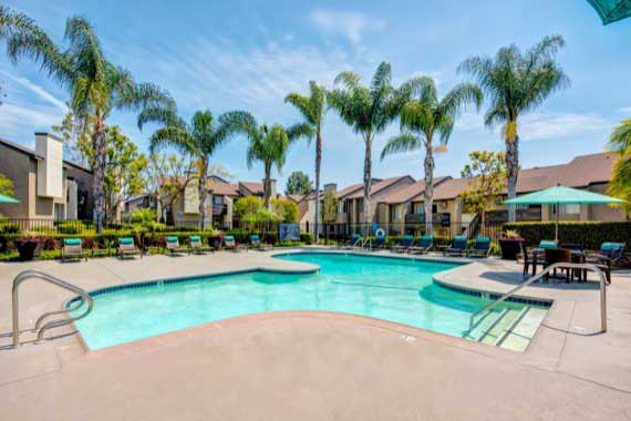 A swimming pool that is great for entertaining at Sofi Laguna Hills in Laguna Hills, CA