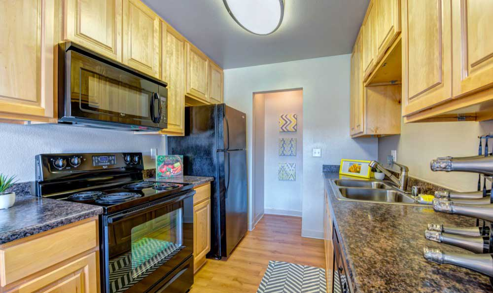 Modern kitchen at Sofi Laguna Hills in Laguna Hills, CA