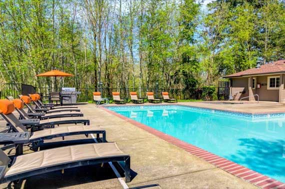Spacious swimming pool at Sofi at Murrayhill in Beaverton, OR
