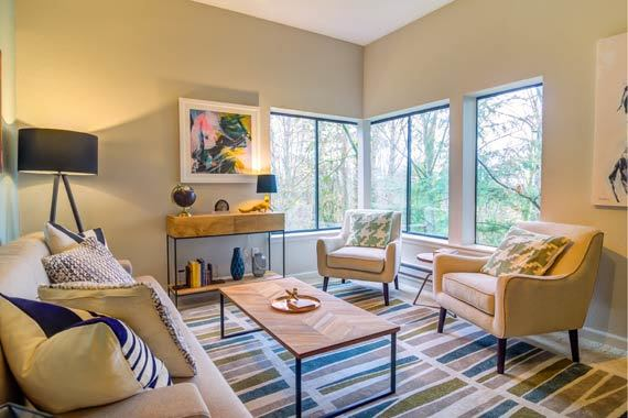 Beautiful living room at Sofi at Somerset in Bellevue, WA