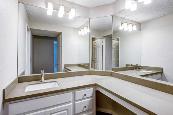 Spacious bathroom at apartments in Irvine, CA