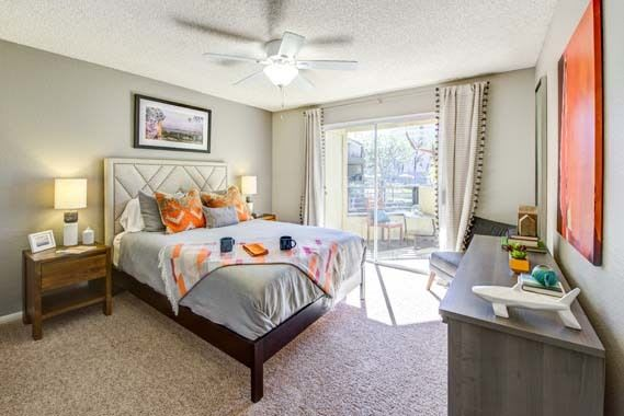 Beautiful bedroom at Sofi Irvine in Irvine, CA