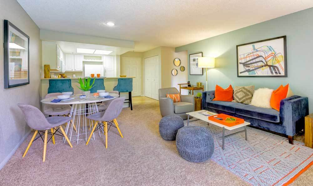 Spacious living room at Sofi Irvine in Irvine, CA