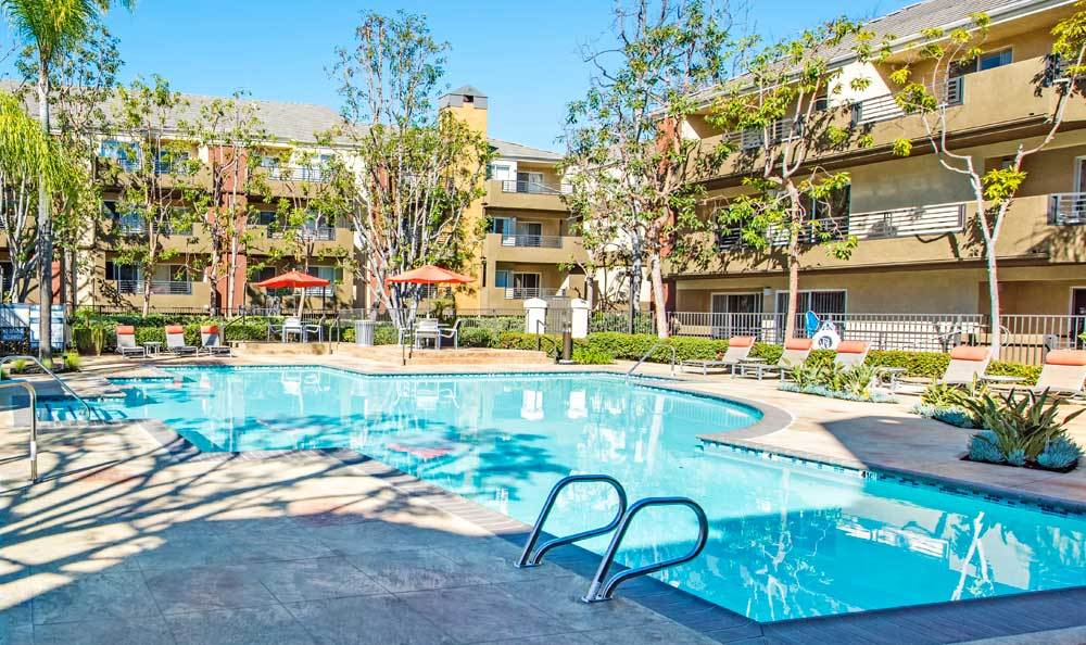 Beautiful swimming pool at Sofi Irvine in Irvine, CA