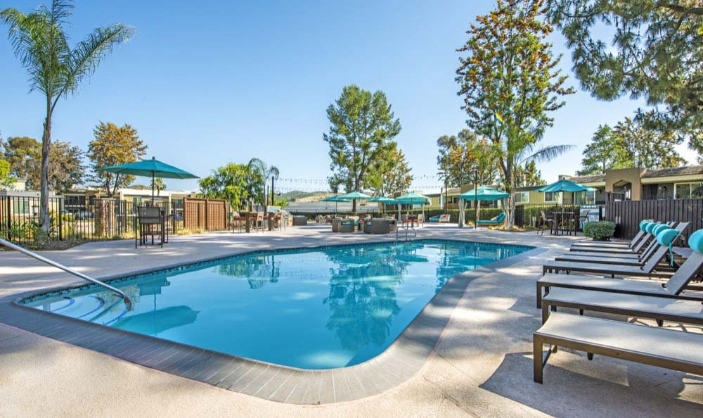A swimming pool that is great for entertaining at Sofi Poway in Poway, CA